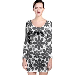 Black & White Long Sleeve Bodycon Dress by zappwaits