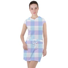 Gingham Duo Aqua On Lavender Drawstring Hooded Dress by retrotoomoderndesigns