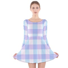 Gingham Duo Aqua On Lavender Long Sleeve Velvet Skater Dress by retrotoomoderndesigns