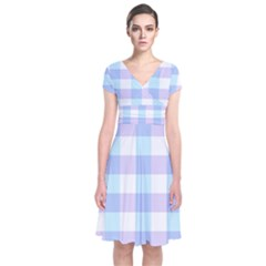 Gingham Duo Aqua On Lavender Short Sleeve Front Wrap Dress by retrotoomoderndesigns