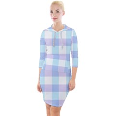 Gingham Duo Aqua On Lavender Quarter Sleeve Hood Bodycon Dress by retrotoomoderndesigns