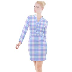 Gingham Duo Aqua On Lavender Button Long Sleeve Dress
