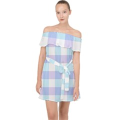 Gingham Duo Aqua On Lavender Off Shoulder Chiffon Dress by retrotoomoderndesigns