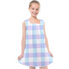 Gingham Duo Aqua On Lavender Kids  Cross Back Dress by retrotoomoderndesigns