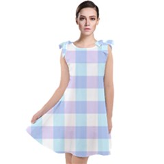 Gingham Duo Aqua On Lavender Tie Up Tunic Dress by retrotoomoderndesigns