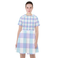 Gingham Duo Aqua On Lavender Sailor Dress by retrotoomoderndesigns