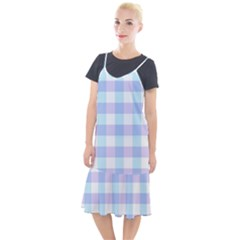 Gingham Duo Aqua On Lavender Camis Fishtail Dress by retrotoomoderndesigns