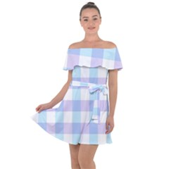 Gingham Duo Aqua On Lavender Off Shoulder Velour Dress by retrotoomoderndesigns