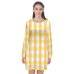 Gingham Duo Orange On Yellow Long Sleeve Chiffon Shift Dress  by retrotoomoderndesigns