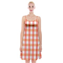 Gingham Duo Red On Orange Spaghetti Strap Velvet Dress by retrotoomoderndesigns
