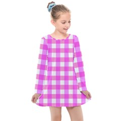 Gingham Duo Fuschia On Pink Kids  Long Sleeve Dress by retrotoomoderndesigns