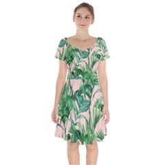Green Tropical Leaves On Pink Ink Short Sleeve Bardot Dress by goljakoff