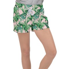 Green Tropical Leaves On Pink Ink Women s Velour Lounge Shorts by goljakoff