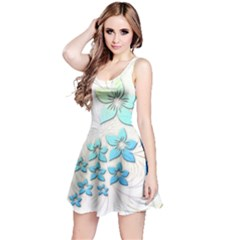 Flowers Background Leaf Leaves Blue Reversible Sleeveless Dress by Mariart
