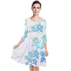 Flowers Background Leaf Leaves Blue Quarter Sleeve Waist Band Dress by Mariart