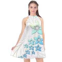 Flowers Background Leaf Leaves Blue Halter Neckline Chiffon Dress  by Mariart
