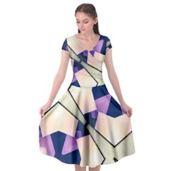 Digital Art 3d Cap Sleeve Wrap Front Dress