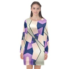 Digital Art 3d Long Sleeve Chiffon Shift Dress  by Jojostore