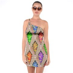 Abstract Background Colorful Leaves One Soulder Bodycon Dress by Alisyart