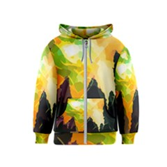 Forest Trees Nature Wood Green Kids  Zipper Hoodie