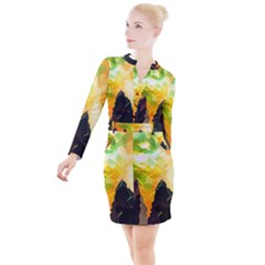 Forest Trees Nature Wood Green Button Long Sleeve Dress by Pakrebo