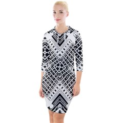 Pattern Tile Repeating Geometric Quarter Sleeve Hood Bodycon Dress