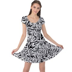 Flames Fire Pattern Digital Art Cap Sleeve Dress