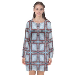 Pattern Cross Geometric Shape Long Sleeve Chiffon Shift Dress