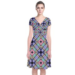 Pattern Wallpaper Background Short Sleeve Front Wrap Dress