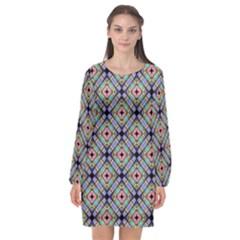 Pattern Wallpaper Background Long Sleeve Chiffon Shift Dress