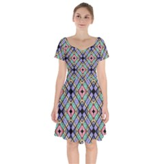 Pattern Wallpaper Background Short Sleeve Bardot Dress