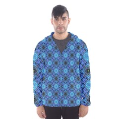 Blue Tile Wallpaper Texture Hooded Windbreaker (men) by Pakrebo