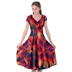 Red Lillies Bloom Flower Plant Cap Sleeve Wrap Front Dress by Pakrebo