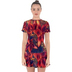 Red Lillies Bloom Flower Plant Drop Hem Mini Chiffon Dress