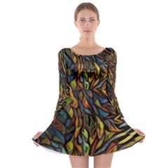 Stained Glass Window Glass Colorful Long Sleeve Skater Dress
