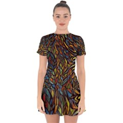 Stained Glass Window Glass Colorful Drop Hem Mini Chiffon Dress