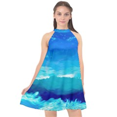 Blue Sky Artwork Drawing Painting Halter Neckline Chiffon Dress
