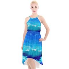 Blue Sky Artwork Drawing Painting High Low Halter Chiffon Dress