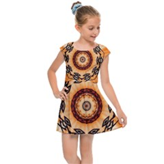 Abstract Kaleidoscope Colorful Kids  Cap Sleeve Dress by Pakrebo