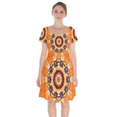 Abstract Kaleidoscope Colorful Short Sleeve Bardot Dress by Pakrebo