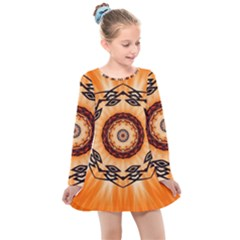 Abstract Kaleidoscope Colorful Kids  Long Sleeve Dress by Pakrebo