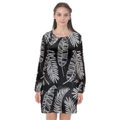 Black And White Tropical Leaves Long Sleeve Chiffon Shift Dress  by goljakoff