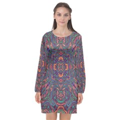 Tile Repeating Colors Texture Long Sleeve Chiffon Shift Dress