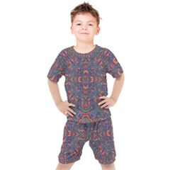 Tile Repeating Colors Texture Kids  Tee And Shorts Set by Pakrebo