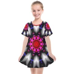 Kaleidoscope Round Metal Kids  Smock Dress by Pakrebo