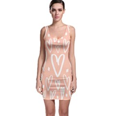 Coral Pattren With White Hearts Bodycon Dress by alllovelyideas