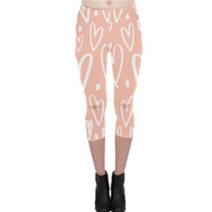 Coral Pattren With White Hearts Capri Leggings  by alllovelyideas