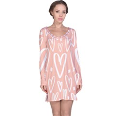 Coral Pattren With White Hearts Long Sleeve Nightdress by alllovelyideas