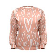 Coral Pattren With White Hearts Women s Sweatshirt by alllovelyideas