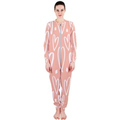 Coral Pattren With White Hearts Onepiece Jumpsuit (ladies)  by alllovelyideas